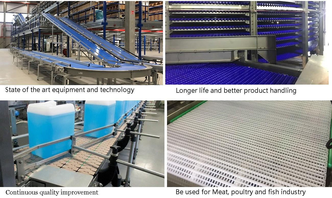 DHP multiangle plastic conveyor chain manufacturers wholesale for boxes conveyor