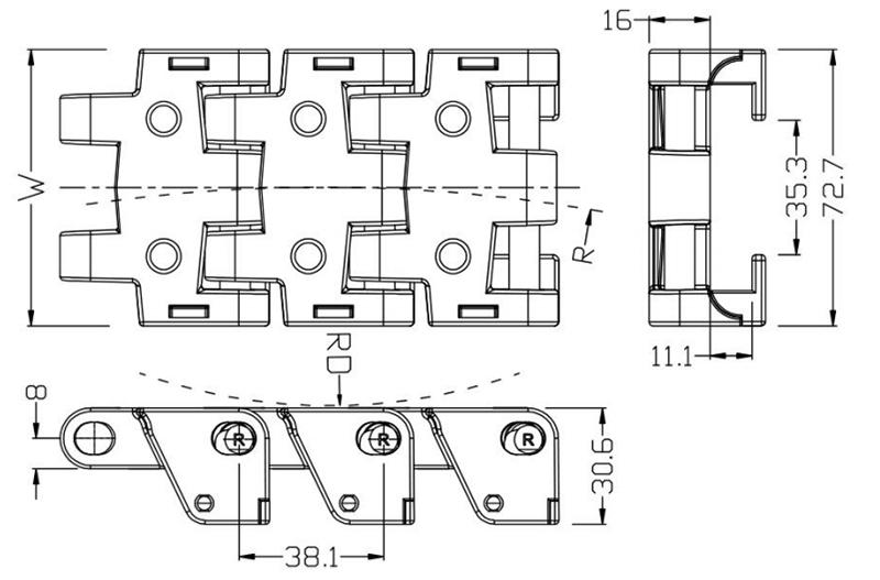 DHP long lasting plastic conveyor chain manufacturers series for food conveyor-3