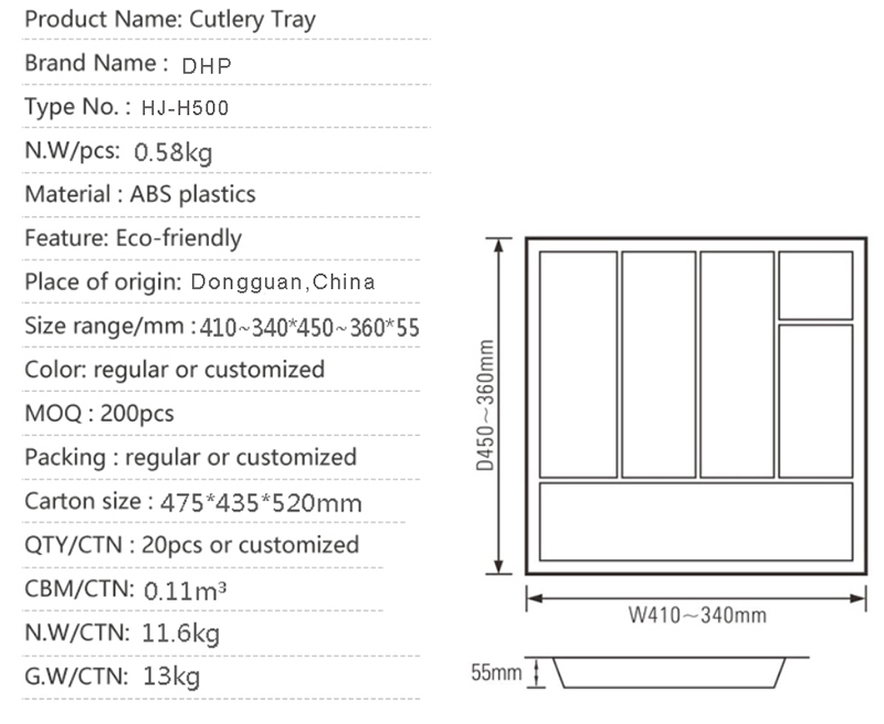 DHP multifunctional plastic cutlery tray customized for cabinets-4