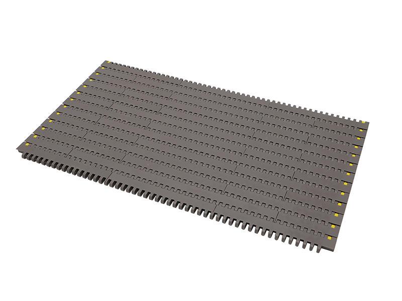 Straight running modular conveyor system line for food transfer